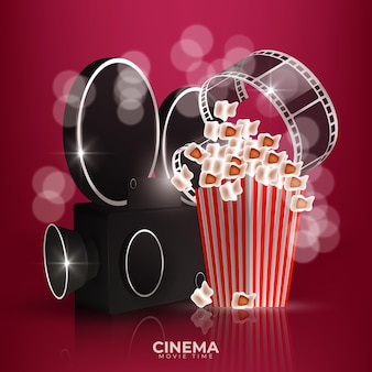 Cinema red background with 3d realistic objects popcorn, tape and clapperboard.