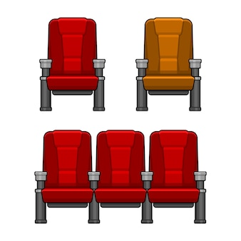 Cinema red chairs set. flat style.