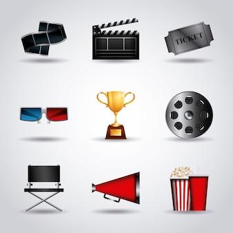 Cinema related icon set over white background