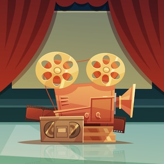 Cinema retro cartoon background