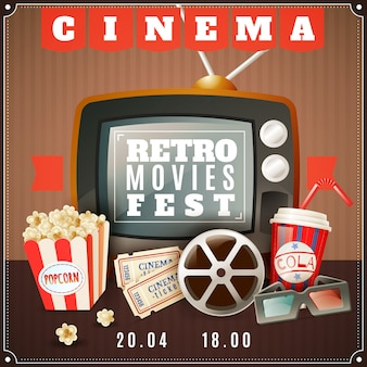 Cinema retro movies festival announcement poster