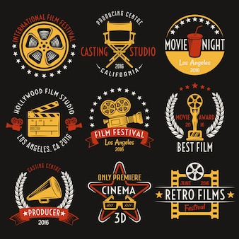 Cinema retro style emblems set