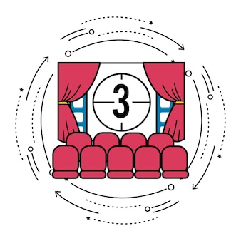 Cinema room with film countdown number 3