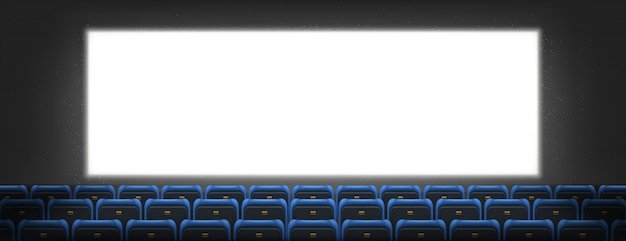 Cinema screen, lightbox in movie theater hall