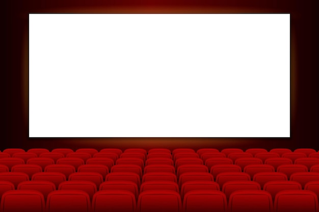 Cinema screen with empty stage for film cinema movie theater with blank screen and red