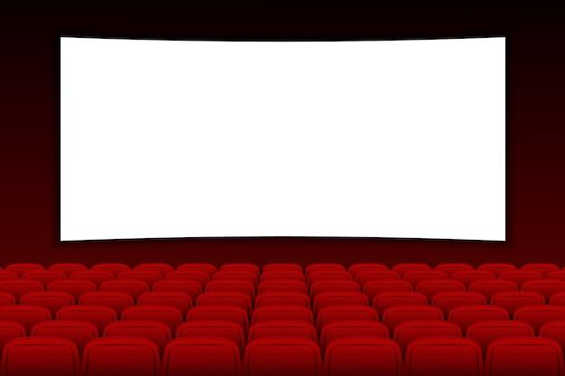空白の画面と赤の映画シネマ映画館の空のステージのあるシネマスクリーン