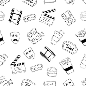 Cinema seamless pattern with doodle style