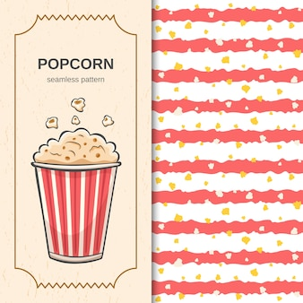 Cinema seamless pattern with handdrawn brush red stripes and flying popcorn