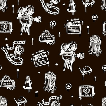 Cinema seamless pattern with vintage camera popcorn clapper   3d glasses black and white
