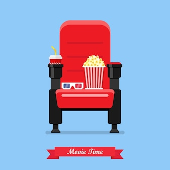 Cinema seat with popcorn drink and glasses