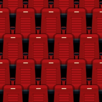 Cinema seats seamless pattern. theater and auditorium, entertainment and red, row and interior.