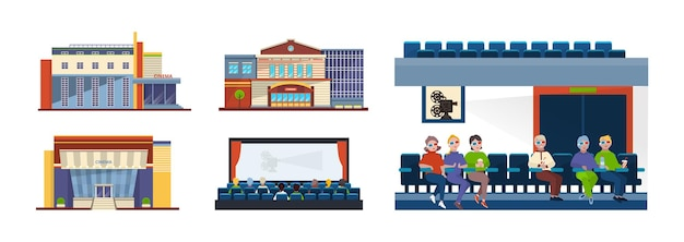 Cinema set. outdoor facade building and indoor interior with spectator audience sitting in row at film strip. movie theater 3d cyberspace entertainment amusement for children and adults vector flat