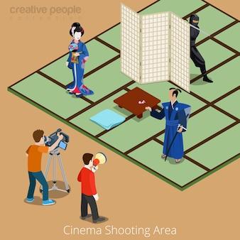 Концепция области съемки кино. япония самурай гейша ниндзя кино сцена.