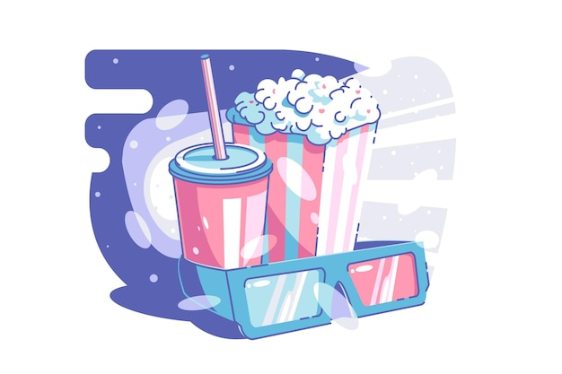 Cinema and snack time vector illustration tasty beverage popcorn and glasses for d movie flat style leisure time and weekend concept isolated
