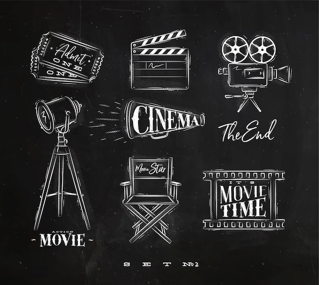 Cinema symbols chalk