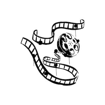 Cinema tape sketch reel film  on a white background black handdrawn illustration