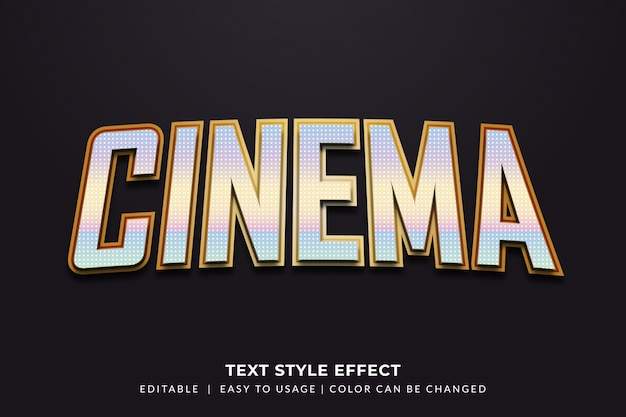 Cinema  text style with metallic effect