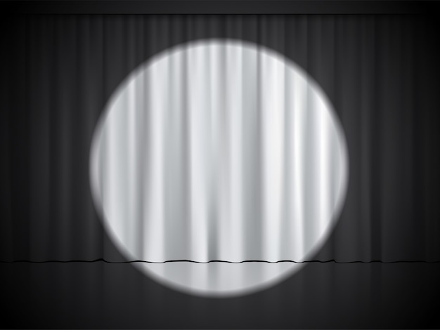 Cinema, theater or circus stage with spotlight on white curtains.
