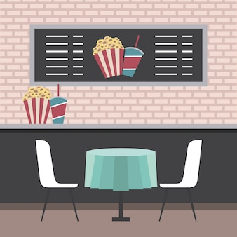 Cinema theater counter table chairs popcorn and sodas