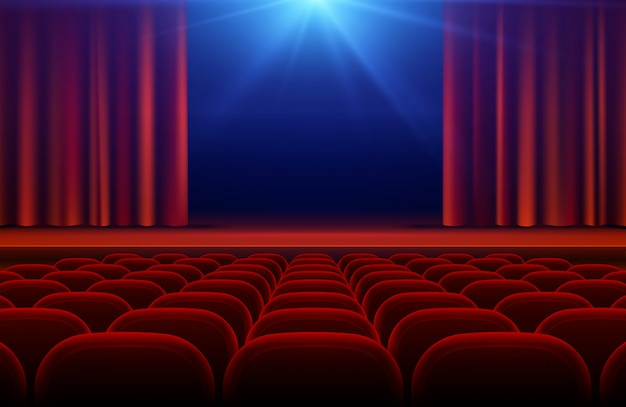 Cinema or theater hall with stage, red curtain and seats vector illustration