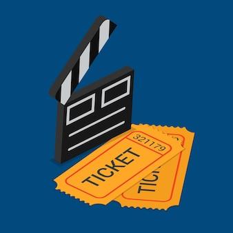 Biglietto di partecipazione allo spettacolo di cinema teatro prenotazione isometrica piatta