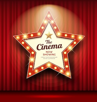 Cinema theater sign star shape red curtain light up banner design background,  illustration