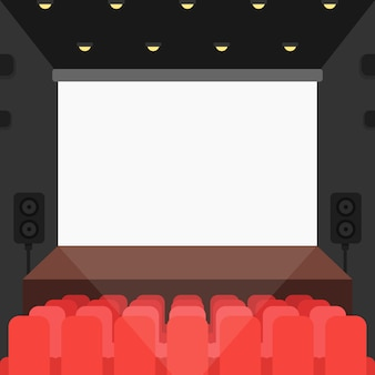 Cinema theater with seats and blank screen