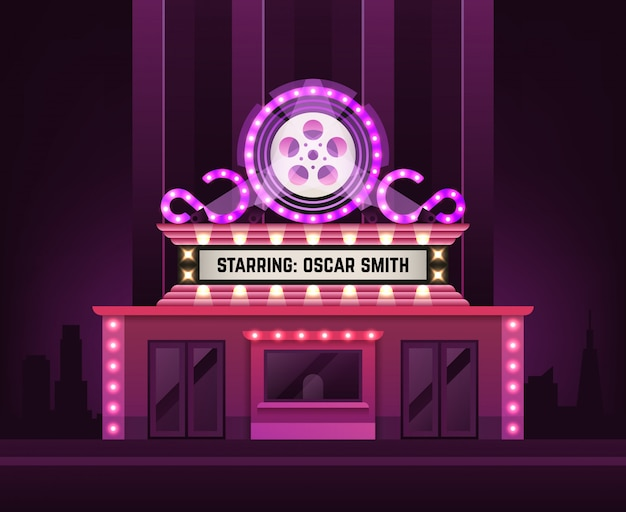 Cinema theatre building exterior. movie entrance with retro light marquee banner illustration