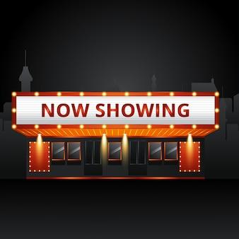 Cinema theatre building exterior. movie entrance with retro light marquee banner