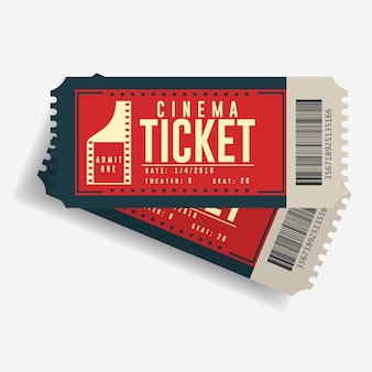 Cinema ticket icon, movie cardboard pair of tickets, entertainment show retro paper coupon, top view