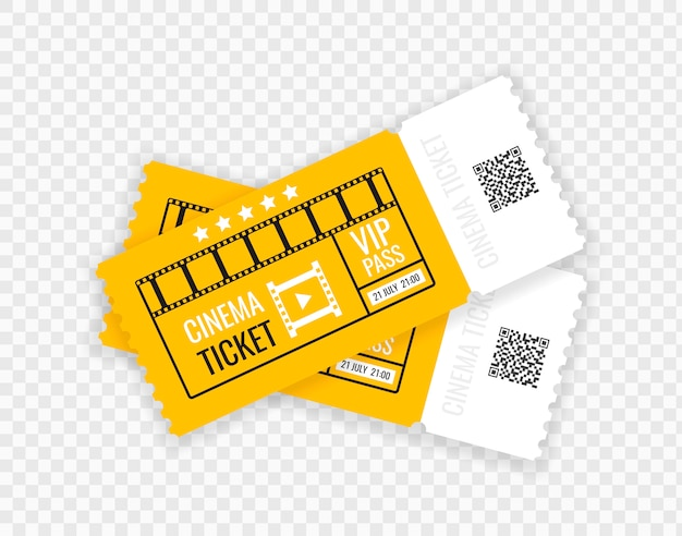 Cinema ticket isolated on transparent background. realistic cinema entrance ticket.