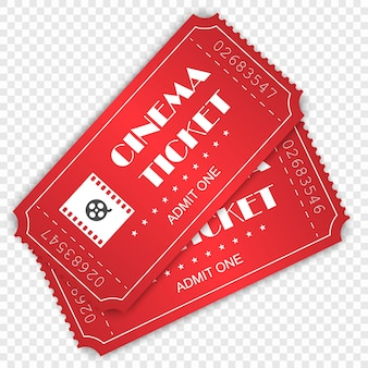 Cinema ticket isolated on transparent background.