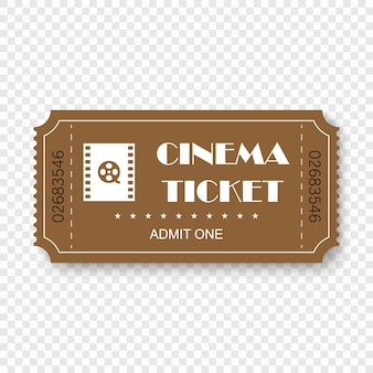 Cinema ticket isolated on transparent