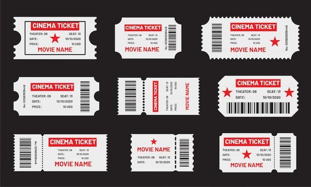 シネマチケットセット。映画、コンサート、劇場、フェスティバルなどのバーコード付きの赤と白のチケットのテンプレート。