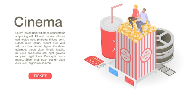 Cinema ticket time concept banner, isometric style