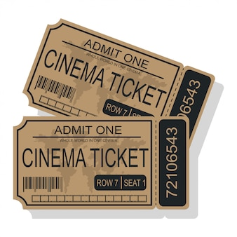 Cinema ticket vector illustration isolated on a white background.