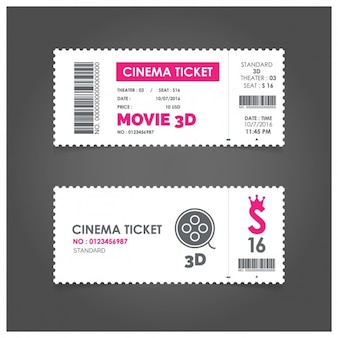 Cinema ticket with pink details