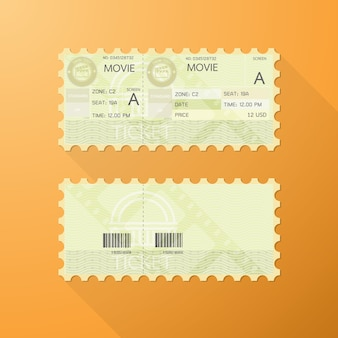 Cinema ticket with retro design