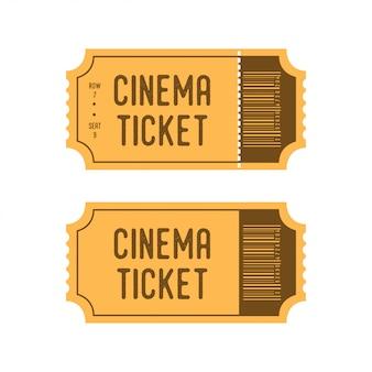 漫画のレトロなスタイルの映画チケット