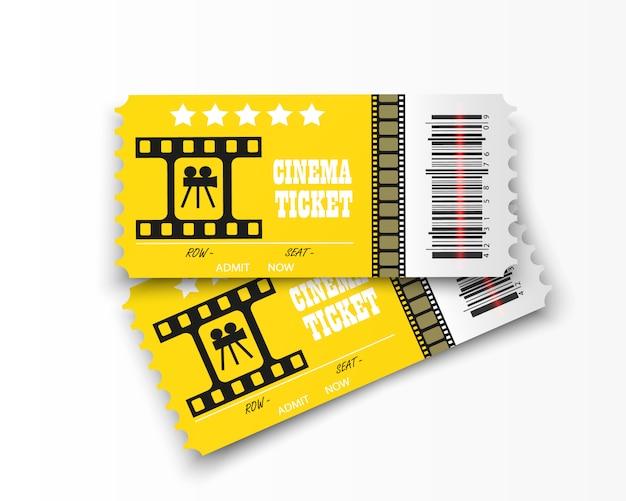 투명 한 배경에 고립 된 영화 티켓입니다. 현실적인 영화관 입장권.