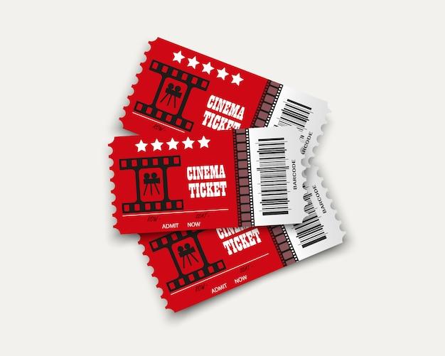 Билеты в кино, изолированные на прозрачном фоне. реалистичный входной билет в кино.