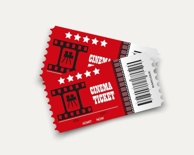 透明な背景に分離された映画のチケット。リアルな映画入場券。