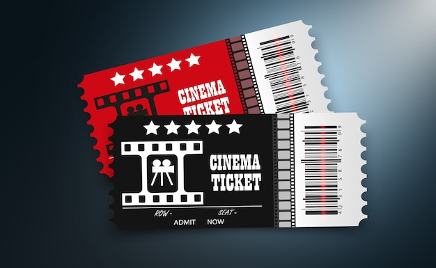 Cinema tickets isolated on transparent background. realistic cinema entrance ticket.
