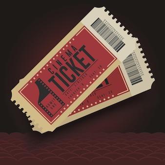 シネマチケット。映画館のチケットアイコン、チケットの段ボールのペア、エンターテイメントショー。