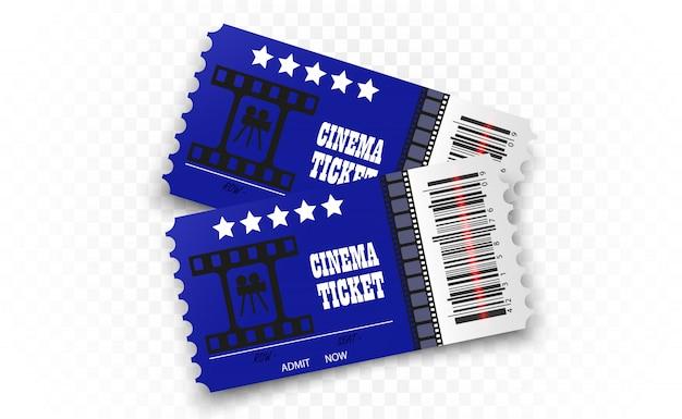 투명 배경에 영화 티켓. 현실적인 영화관 입장권.