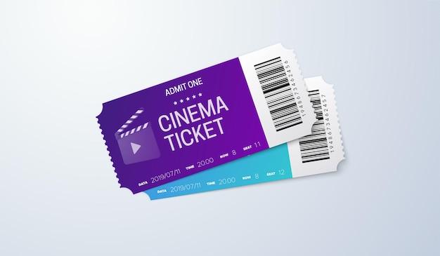 白い背景の上の映画のチケット。