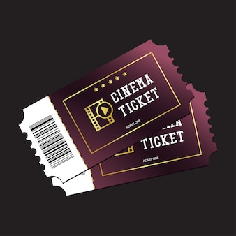 Cinema tickets painted in purple isolated on dark background