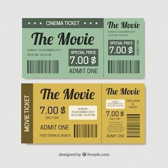 Cinema tickets in vintage style