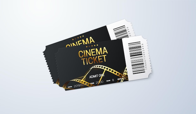 Cinema tickets with golden film strip and bar code