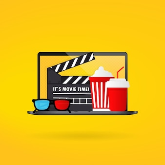 Cinema time. popcorn bowl, film strip and tickets, film glasses.